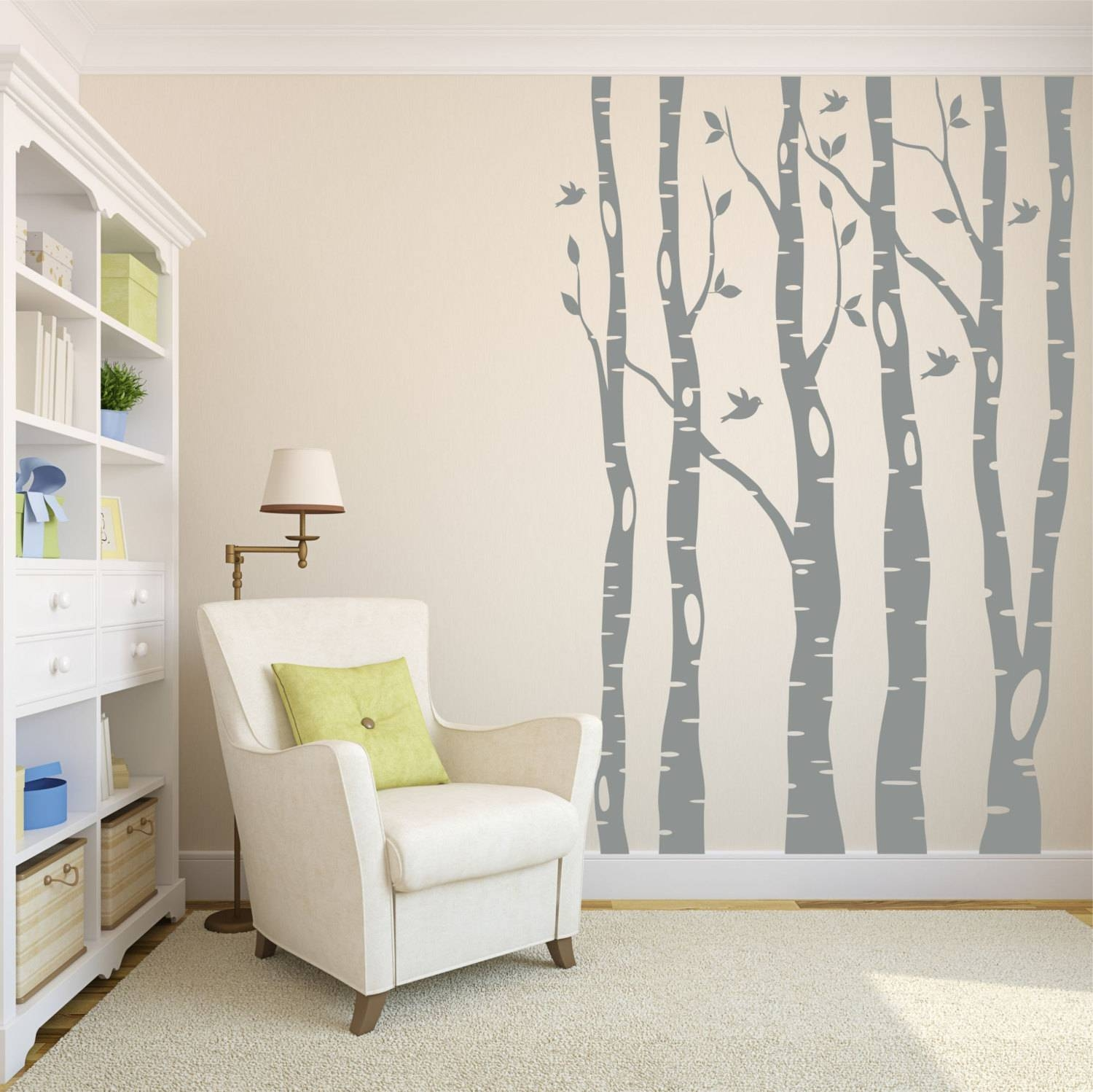 Tree Wall Decals // Birch Tree Decals // Living Room Decor // With Regard To Recent Aspen Tree Wall Art (View 18 of 20)