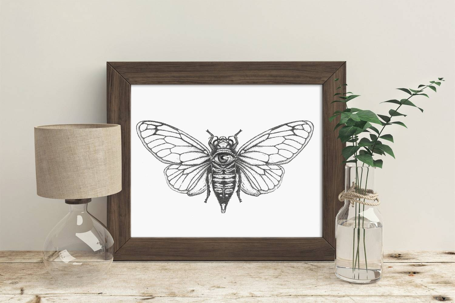 Trippy Wall Art Cicada Black And White Art Cool Wall Art Inside Current Insect Wall Art (View 7 of 30)