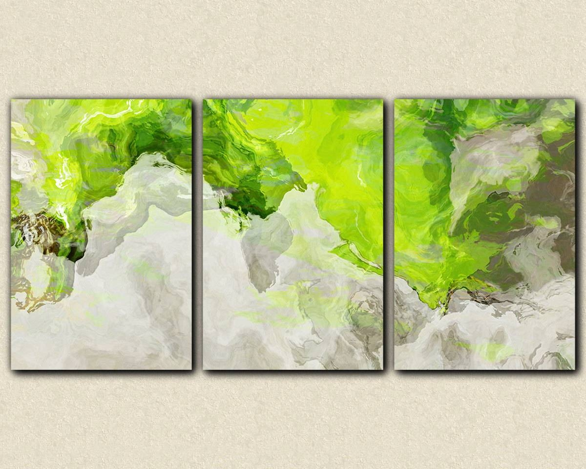Triptych Abstract Giclee Canvas Print With Gallery Wrap 24X48 Pertaining To Most Up To Date Lime Green Wall Art (View 16 of 20)