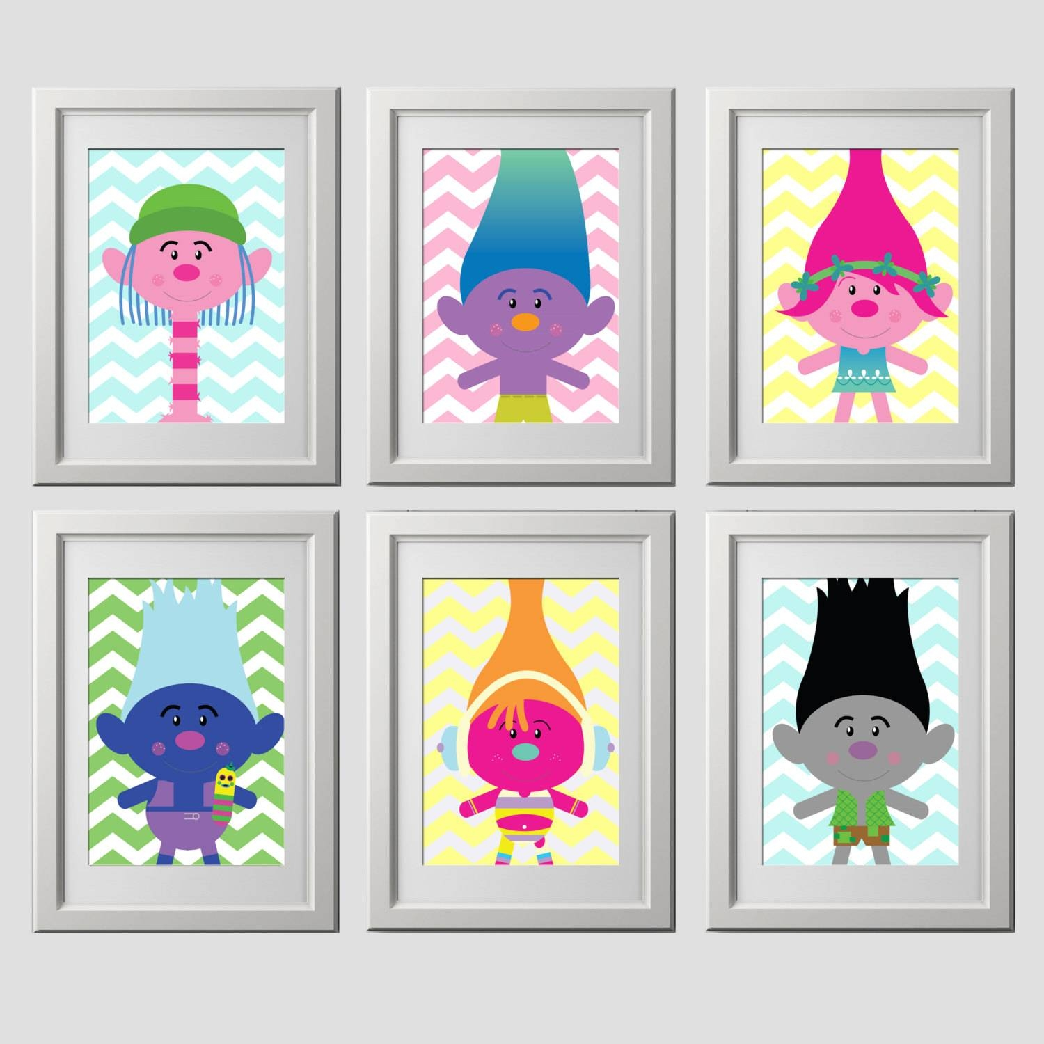 Trolls Wall Art Prints Trolls Wall Decor Custom Colors For Current Customized Wall Art (View 14 of 20)
