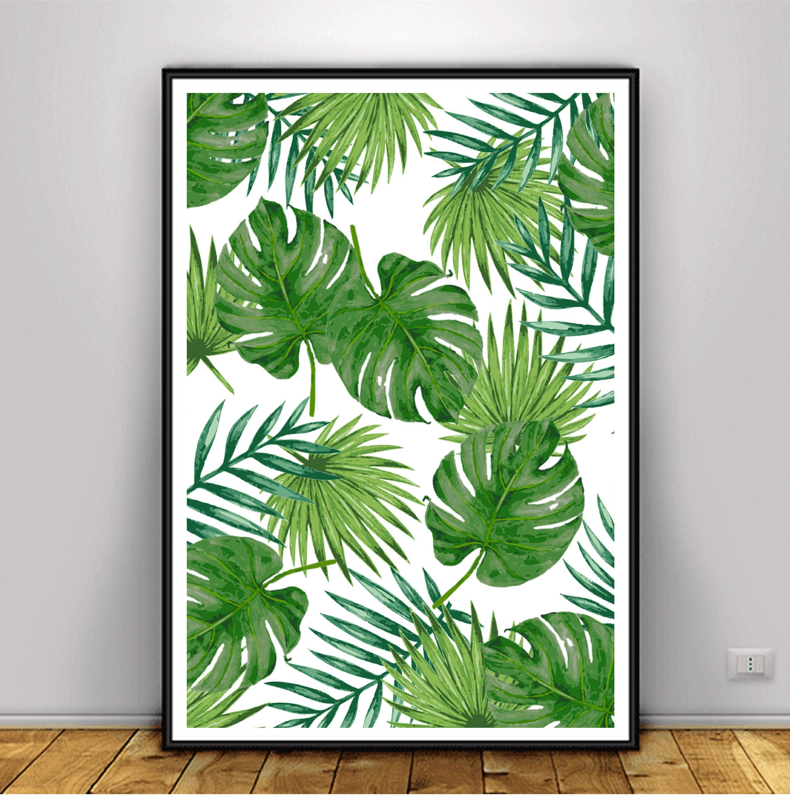 Tropical Leaf Print Banana Leaf Print Palm Leaf Poster Intended For Most Up To Date Palm Leaf Wall Art (View 13 of 20)