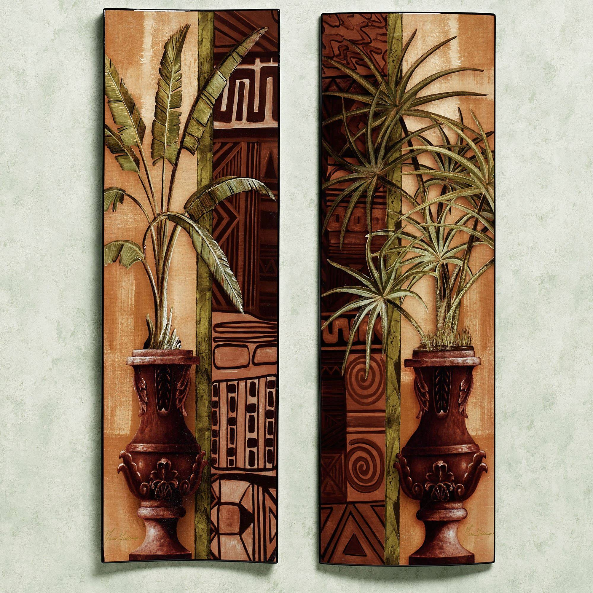 Tropical Palms Wooden Wall Panel Set In Current Wooden Wall Art Panels (View 14 of 20)
