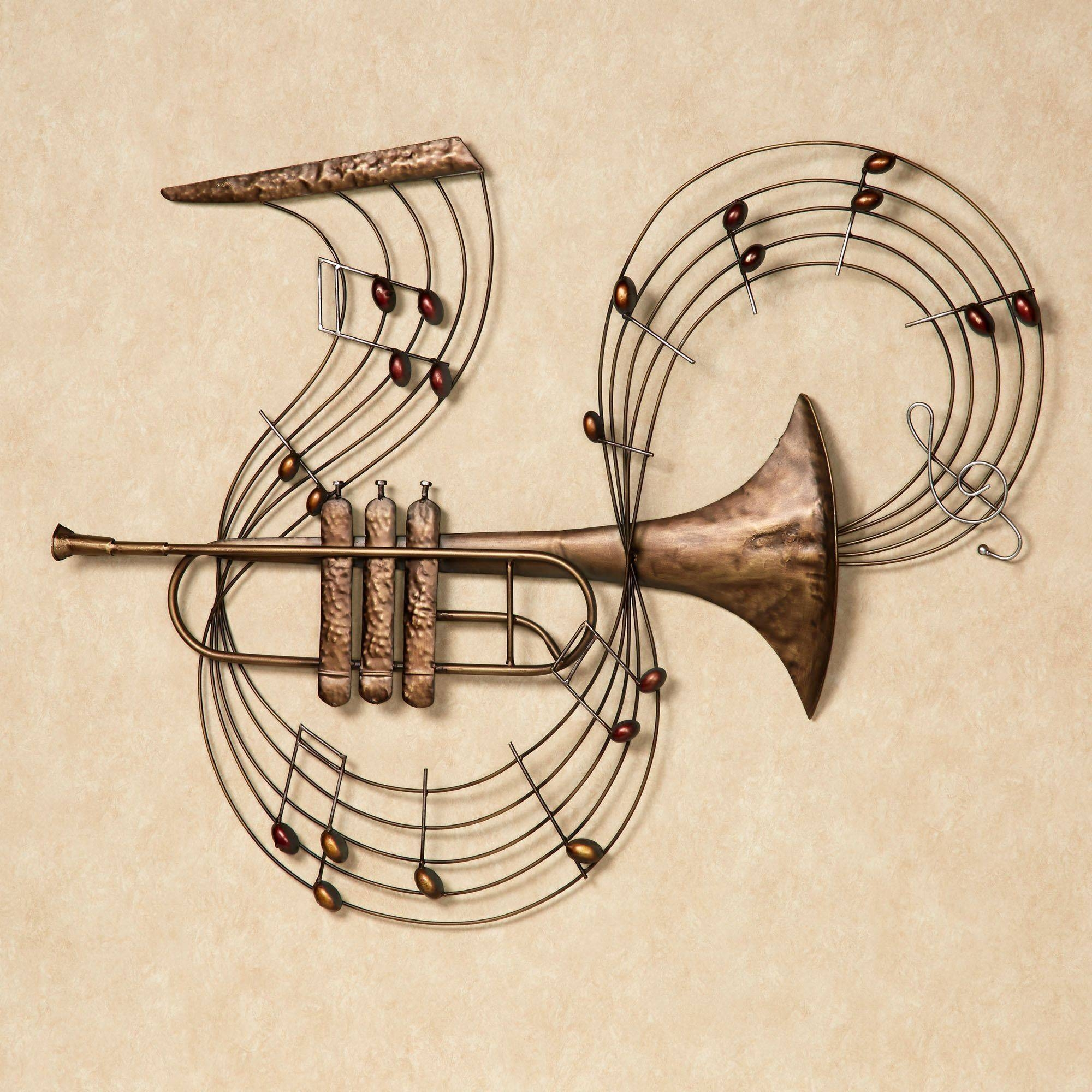 Trumpet Melody Metal Wall Art Throughout Most Popular Musical Instrument Wall Art (View 21 of 25)