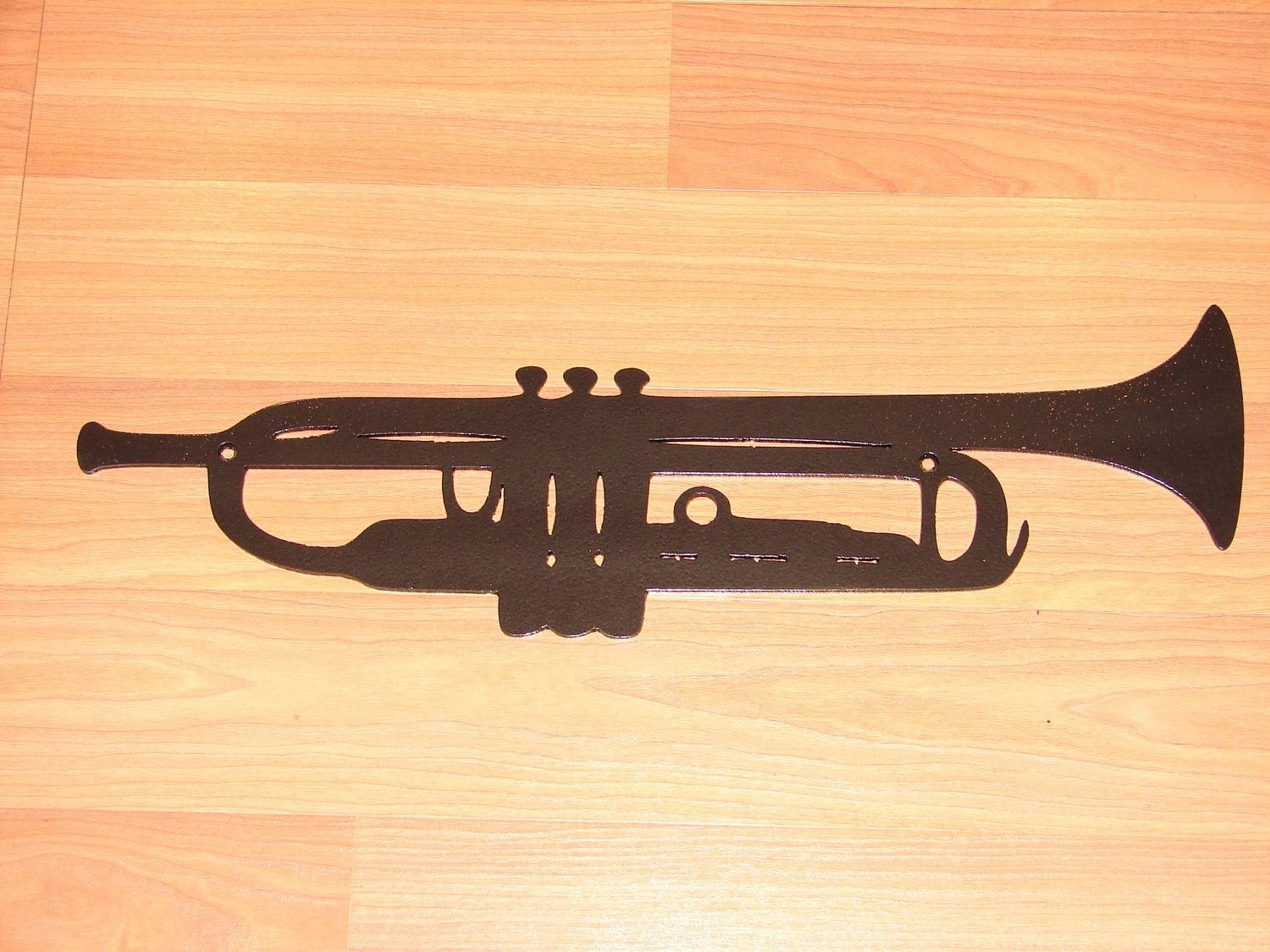 Trumpet Metal Wall Art Decor Music Jazz Instrument Band Intended For Current Musical Instrument Wall Art (View 22 of 25)