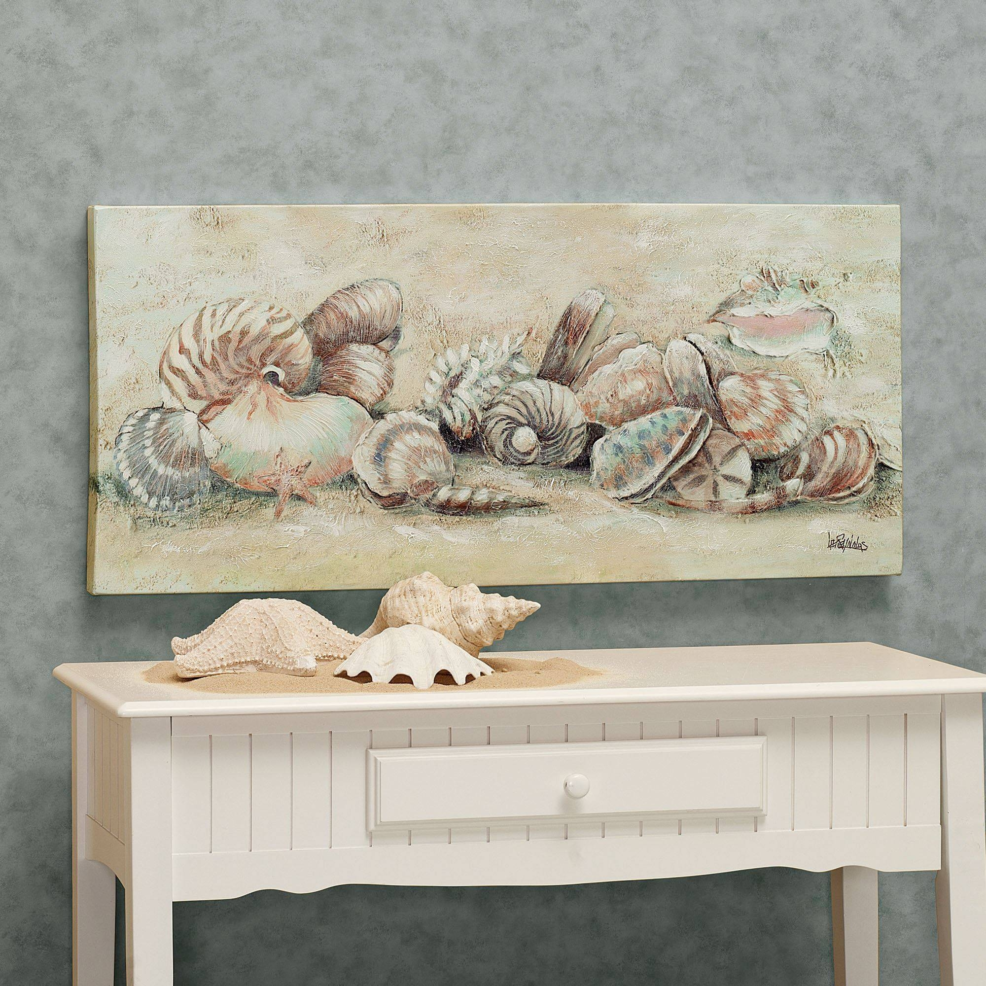 Turquoise Accents, Seashell Canvas Wall Art Tropical Metal Wall Intended For Best And Newest Coastal Wall Art Canvas (View 10 of 20)