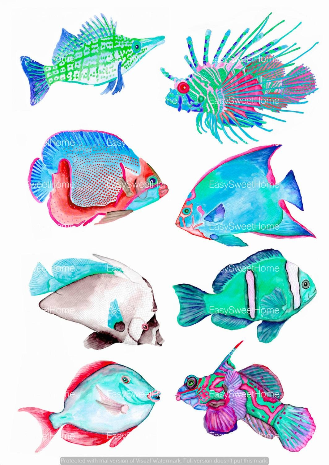 Turquoise Coral Reef Fish Decals Bathroom Decals Set Of 8 With Regard To Latest Fish Decals For Bathroom (View 25 of 30)
