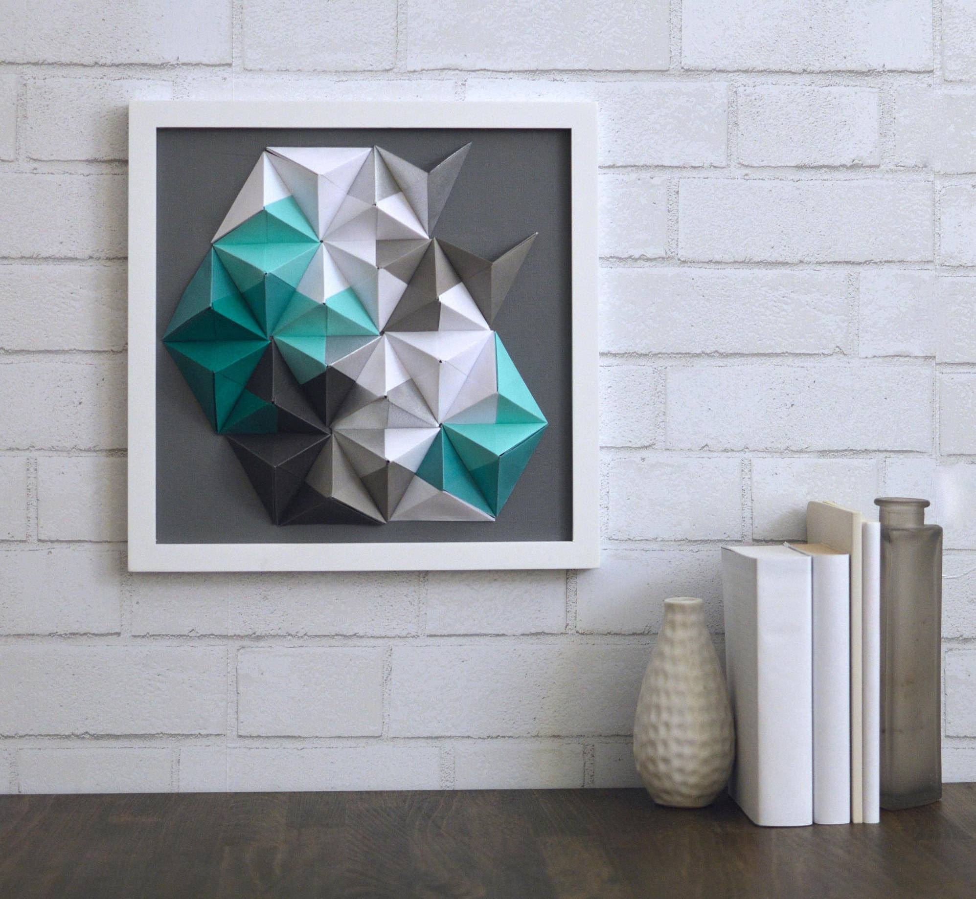 Turquoise Grey Silver & White 12x12 Origami Wall Art Modern In Current 3d Triangle Wall Art (View 16 of 20)