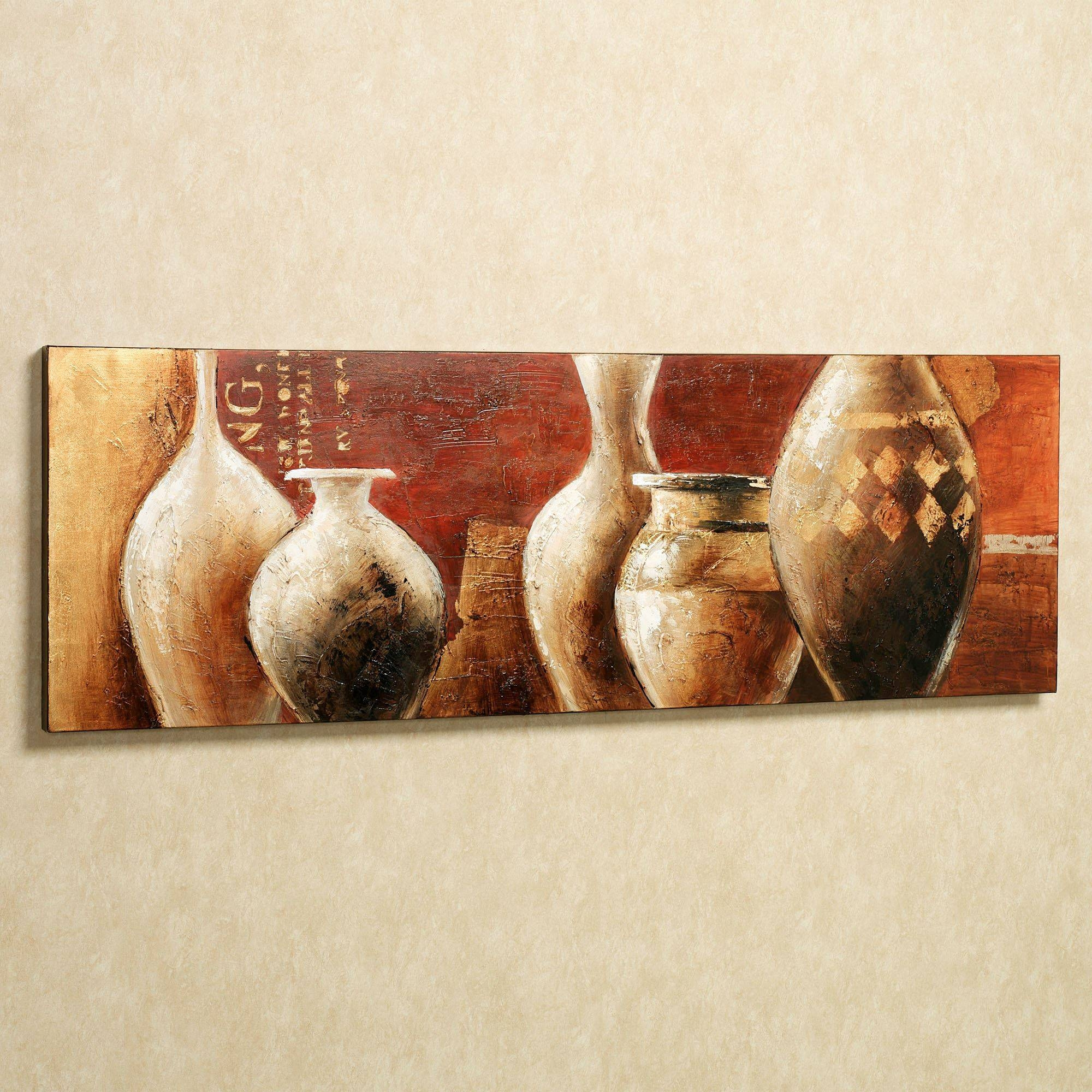 Tuscan Earthenware Handpainted Canvas Wall Art Inside Most Recent Tuscan Wall Art Decor (View 11 of 20)