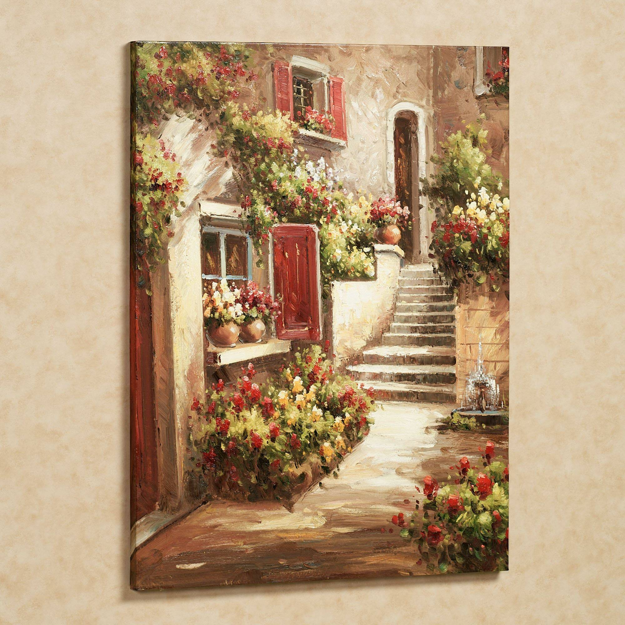 Tuscan Flowers Canvas Wall Art Intended For Most Popular Flower Wall Art Canvas (View 16 of 20)