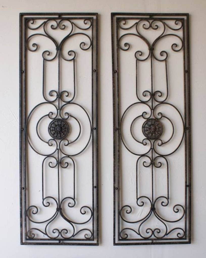 Tuscan Large Scrolling Wrought Iron Wall Grille Set Tuscan Wrought With Regard To Best And Newest Tuscan Wrought Iron Wall Art (View 2 of 20)