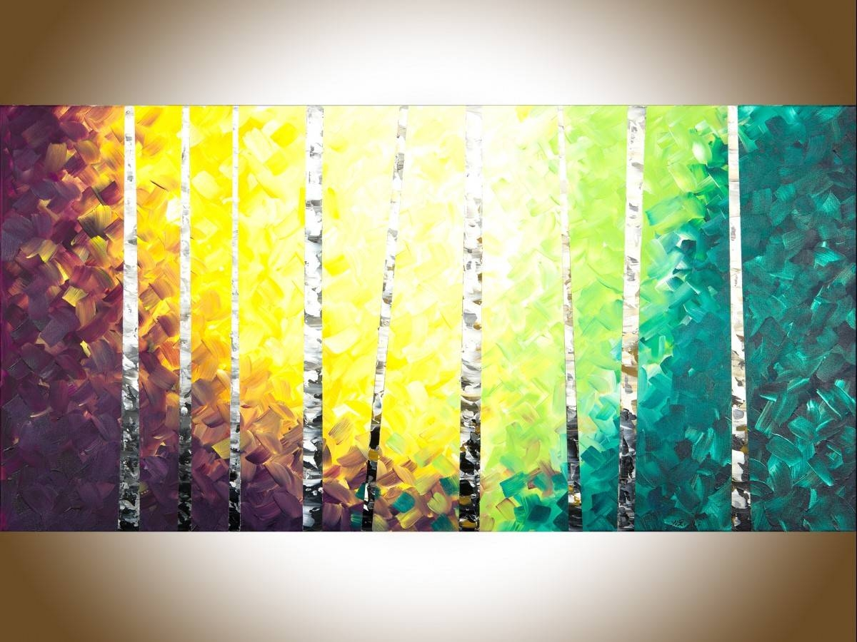 "Twilight Birch Treesqiqigallery 48"" X 24"" Colourful Painting Inside Recent Yellow And Green Wall Art (View 7 of 20)"