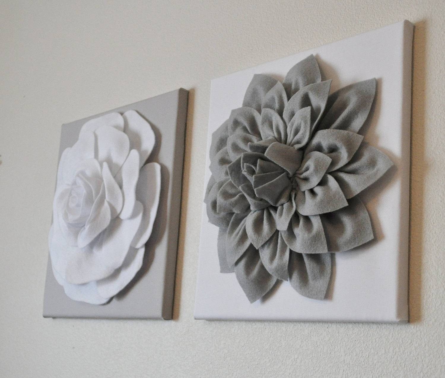 Two Wall Flowers Gray Dahlia On White And White Rose On Gray Within 2017 Rose Canvas Wall Art (View 20 of 20)