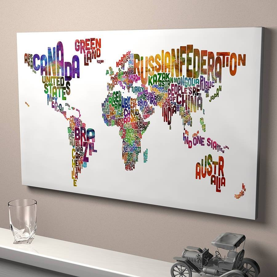 View photos of typography canvas wall art showing 20 of 20 photos typography world map art printartpause notonthehighstreet with most recent typography canvas wall art gallery gumiabroncs Gallery