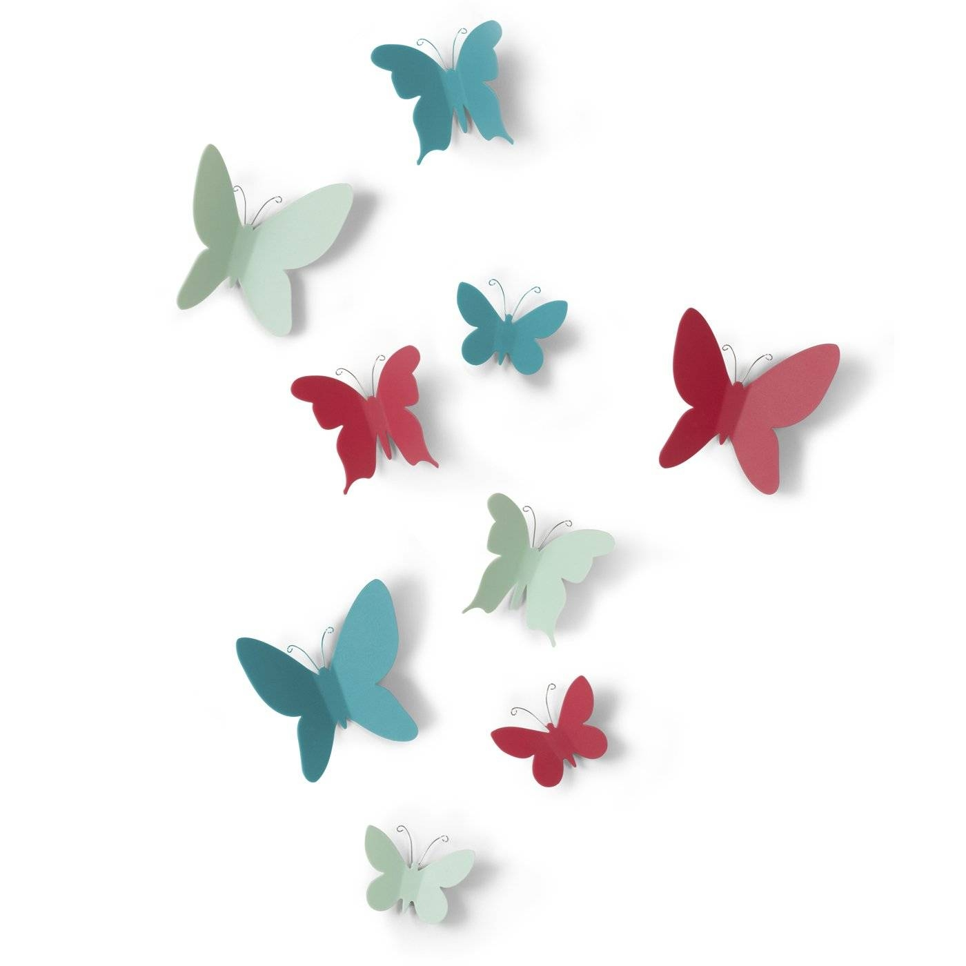 Umbra 470130 Mariposa Wall Decor (set Of 9) | Lowe's Canada Pertaining To Recent Umbra 3d Wall Art (View 15 of 20)