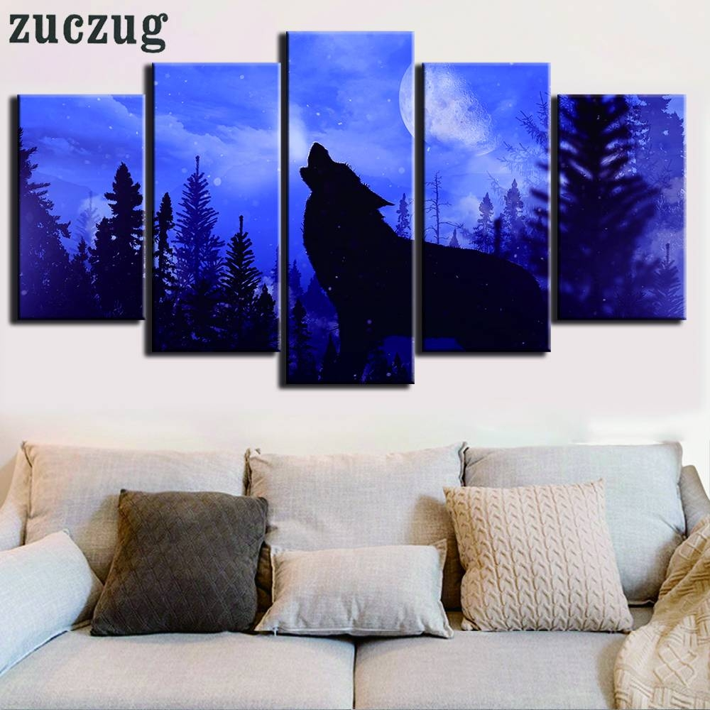 Unframed 5 Panel Lonely Wolf Howl At Night Canvas Painting Modular In 2018 Modular Wall Art (View 9 of 25)