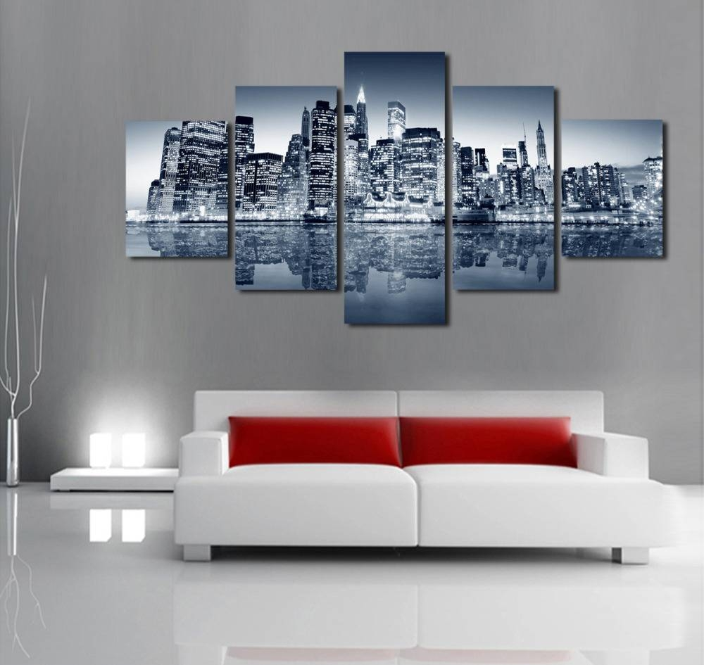 Unframed 5 Panels Abstract Urban Night Scene Canvas Print Painting Throughout Recent Modern Wall Art Uk (View 15 of 20)