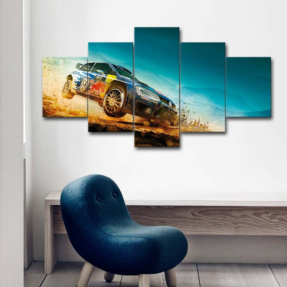 Unframed 5 Pieces Canvas Video Game Painting Dirt 3 Racing Car With Regard To Most Recently Released Video Game Wall Art (View 22 of 30)