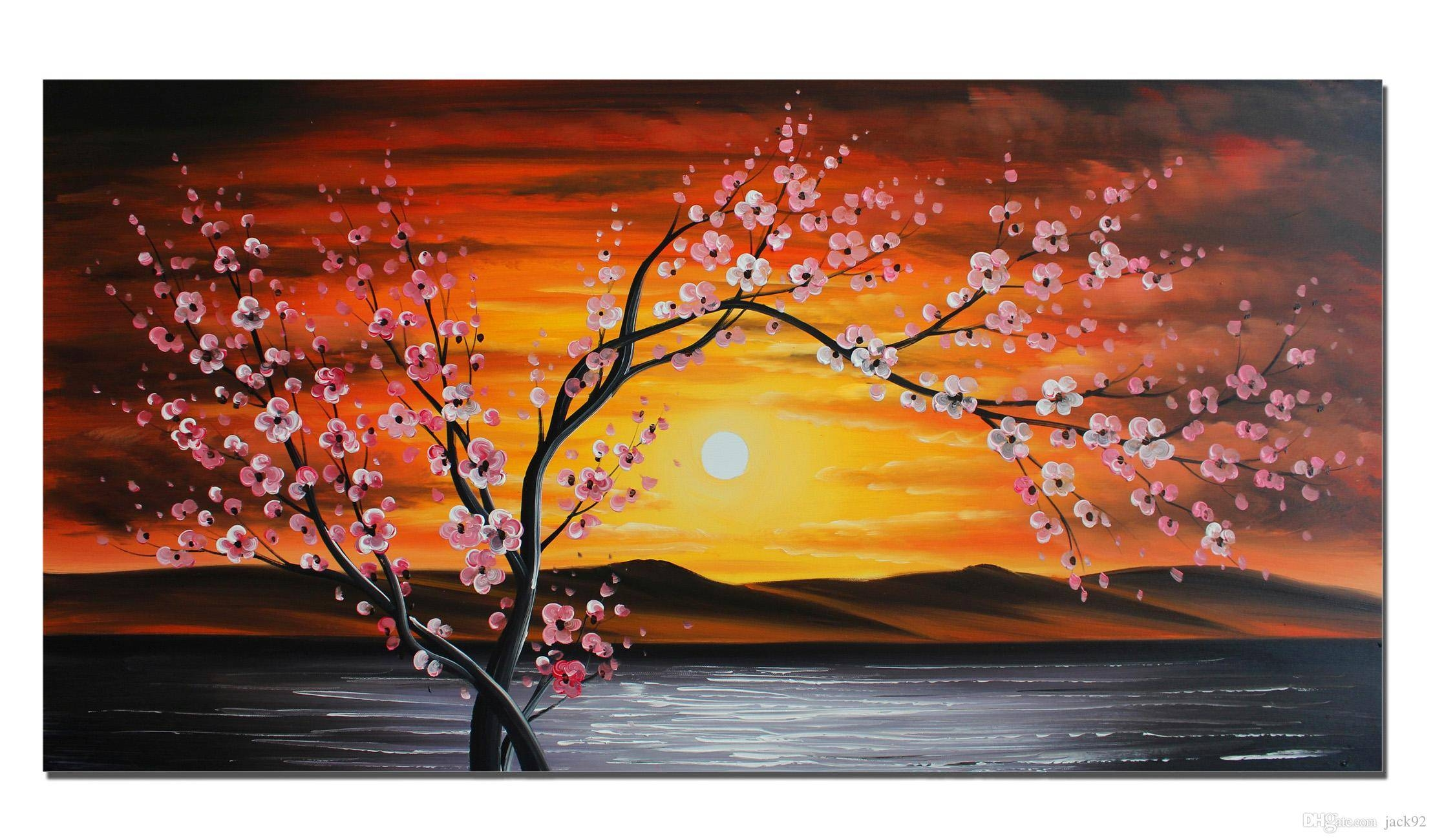 Unframed Large Flower Oil Painting On Canvas One Panel 100% Hand in Latest Red Cherry Blossom Wall Art