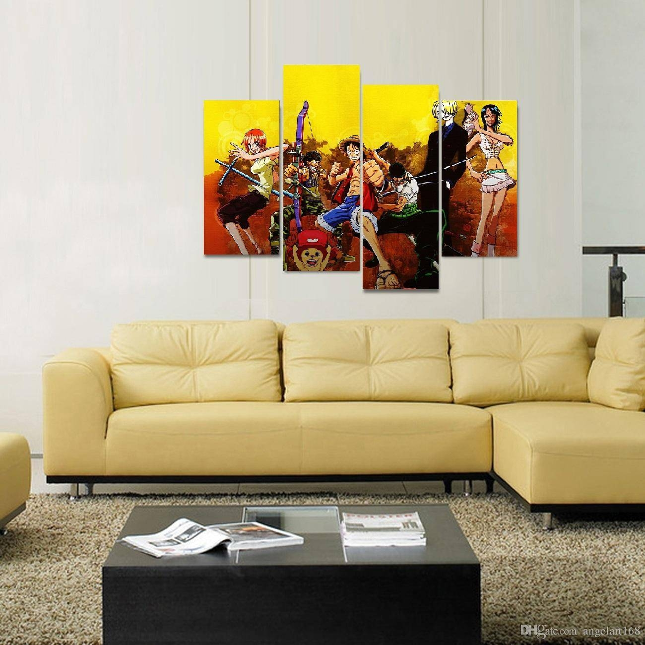 Unframed Luffy's Team 7 Persons Anime Poster Print On Canvas Wall Within 2018 7 Piece Canvas Wall Art (Gallery 11 of 20)