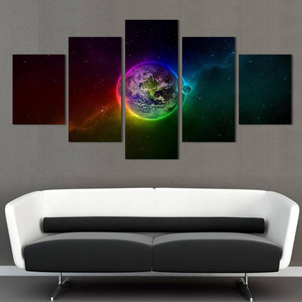 Unframed Printed Planets Outer Space 5 Piece Painting Wall Art For Newest Outer Space Wall Art (View 3 of 25)