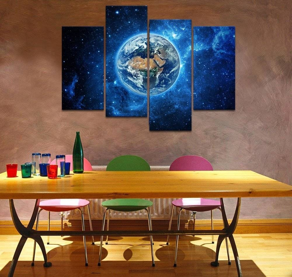 Unframed Starry Earth Canvas Wall Art Prints For Living Room Outer with Most Recently Released Outer Space Wall Art