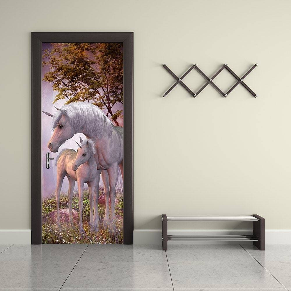 Unicorn Animal Wall Stickers 3D Door Forest Landscape Wallpaper Pertaining To Most Recently Released 3D Unicorn Wall Art (View 16 of 20)