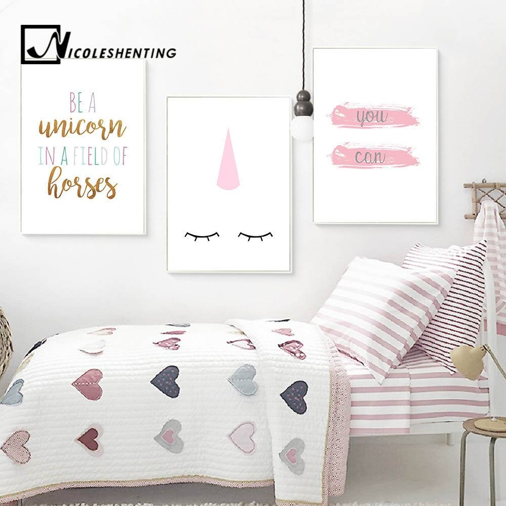 Unicorn Nursery Quote Wall Art Canvas Posters Cartoon Minimalist With Regard To 2018 Kids Canvas Wall Art (View 20 of 20)