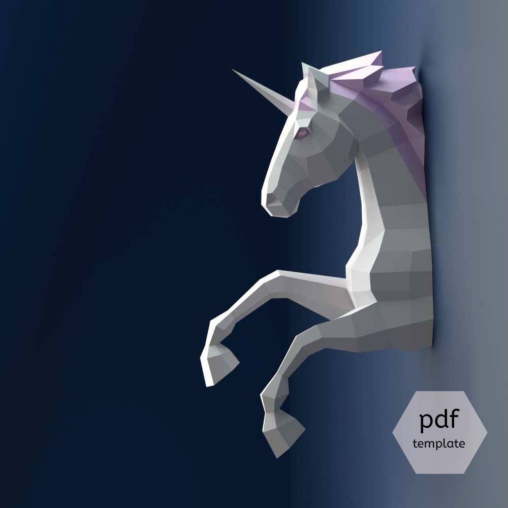 Unicorn Papercraft 3D Papercraft Build Your Own Low Poly Inside Most Current 3D Unicorn Wall Art (View 18 of 20)