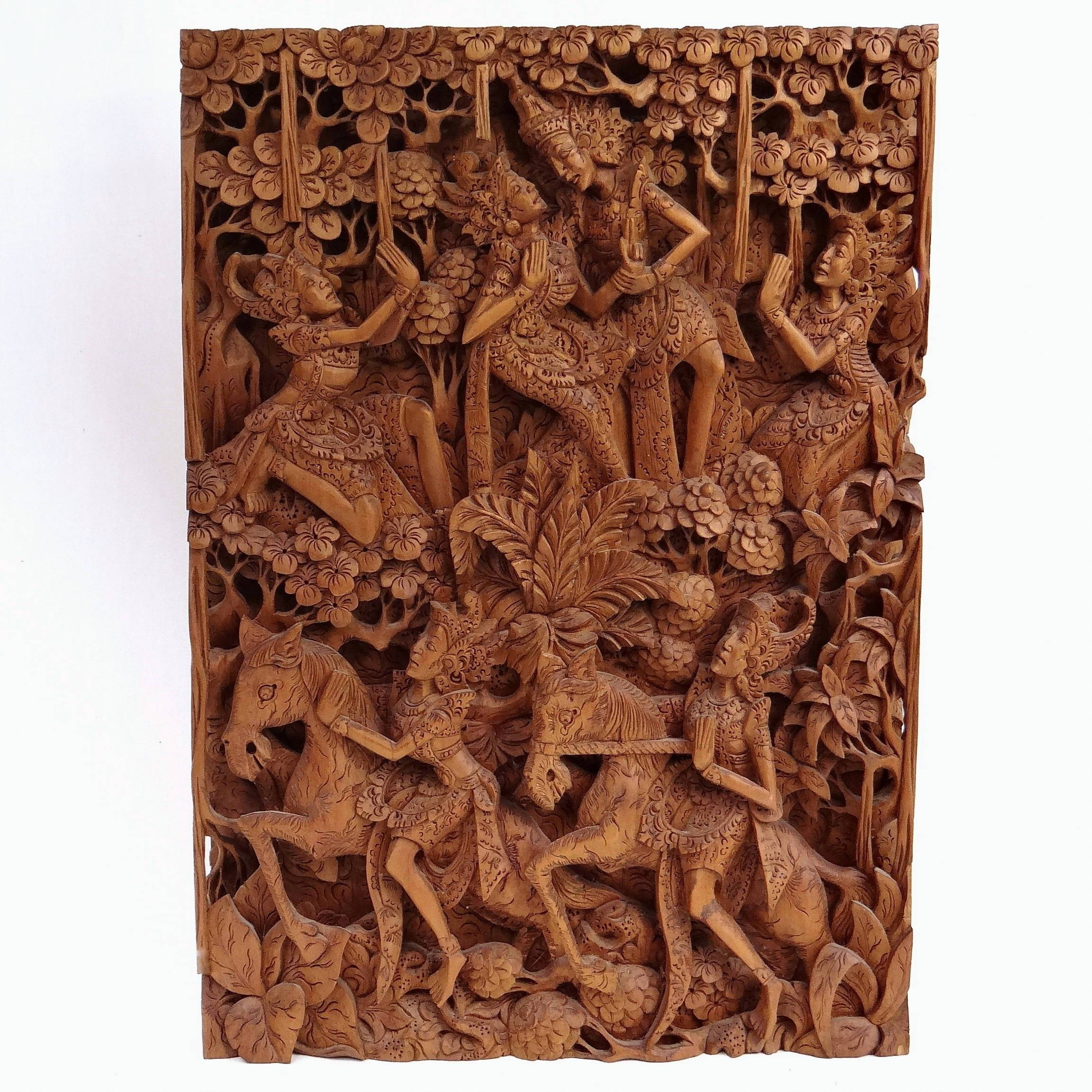 Unique Balinese Carved Wooden Wall Panel 20 Inch Ramayana For Current Balinese Wall Art (View 22 of 30)