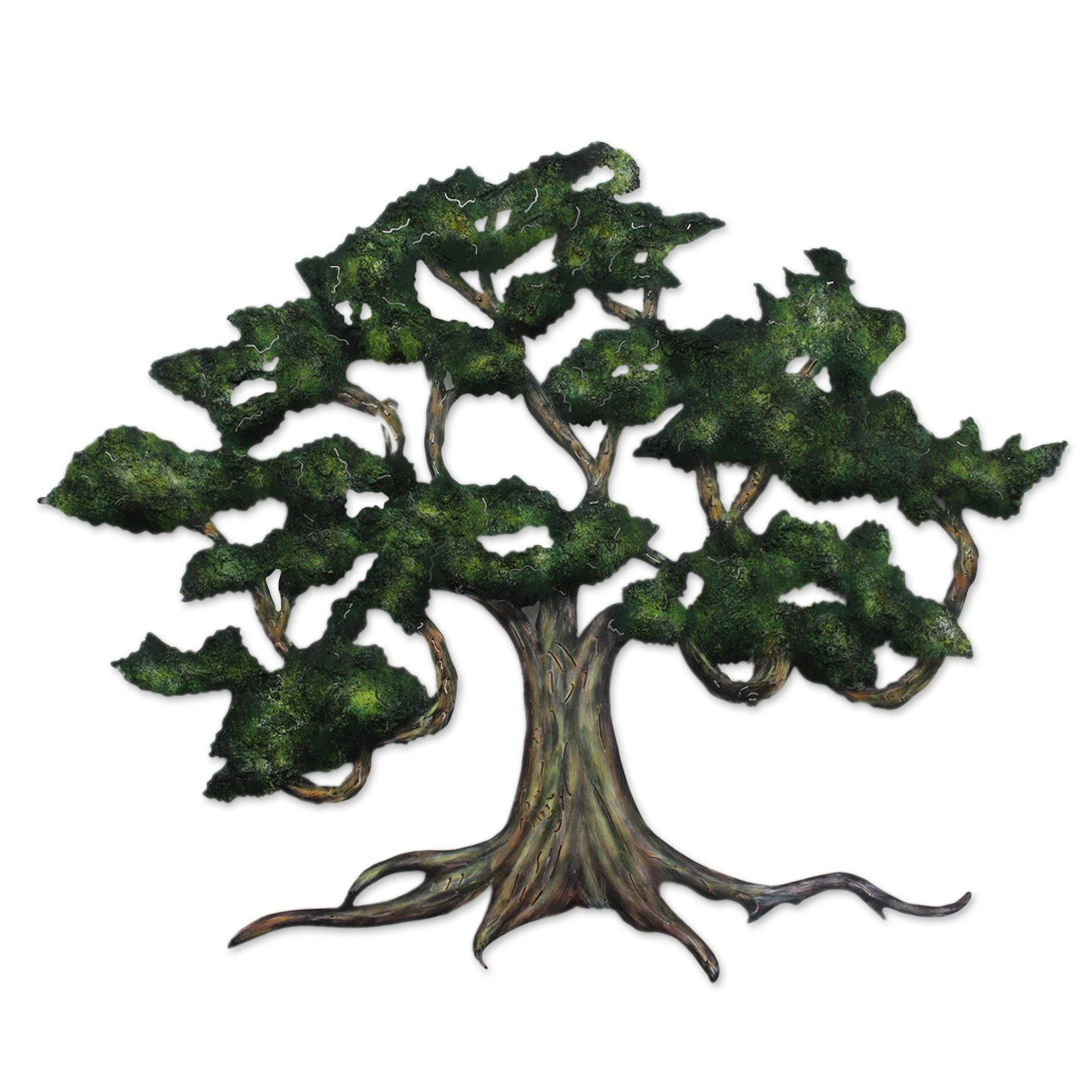 Unique Hand Painted Mexican Steel Wall Art (Large) - Ancient Shade with Recent Oak Tree Wall Art