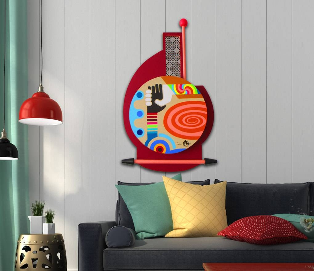 Unique Painting, Original Abstract Pop Art On Wood, Original With 2018 Unique 3D Wall Art (Gallery 2 of 20)