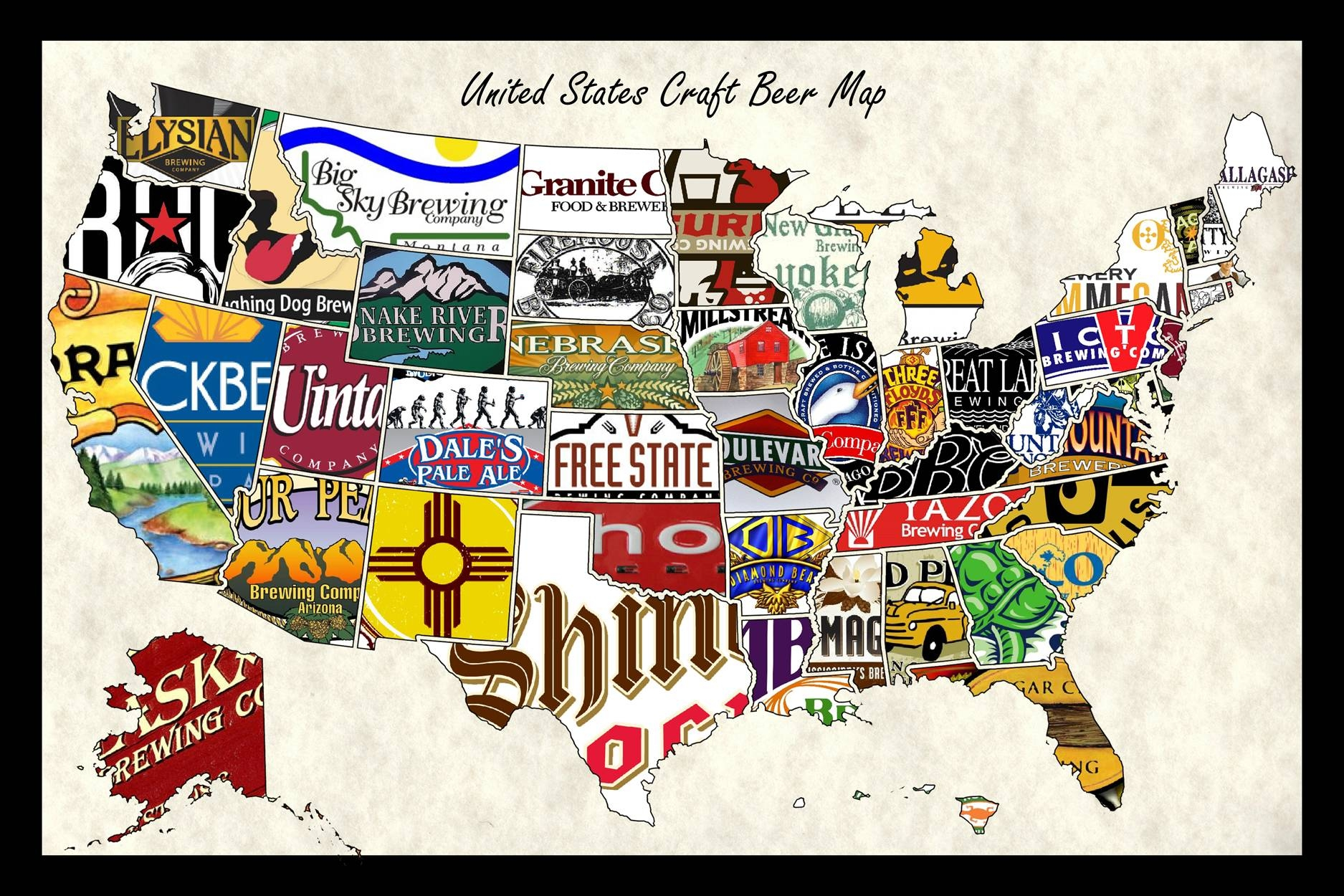 United States Craft Beer Wall Map Art Poster Of Breweries Intended For Newest United States Map Wall Art (View 9 of 20)