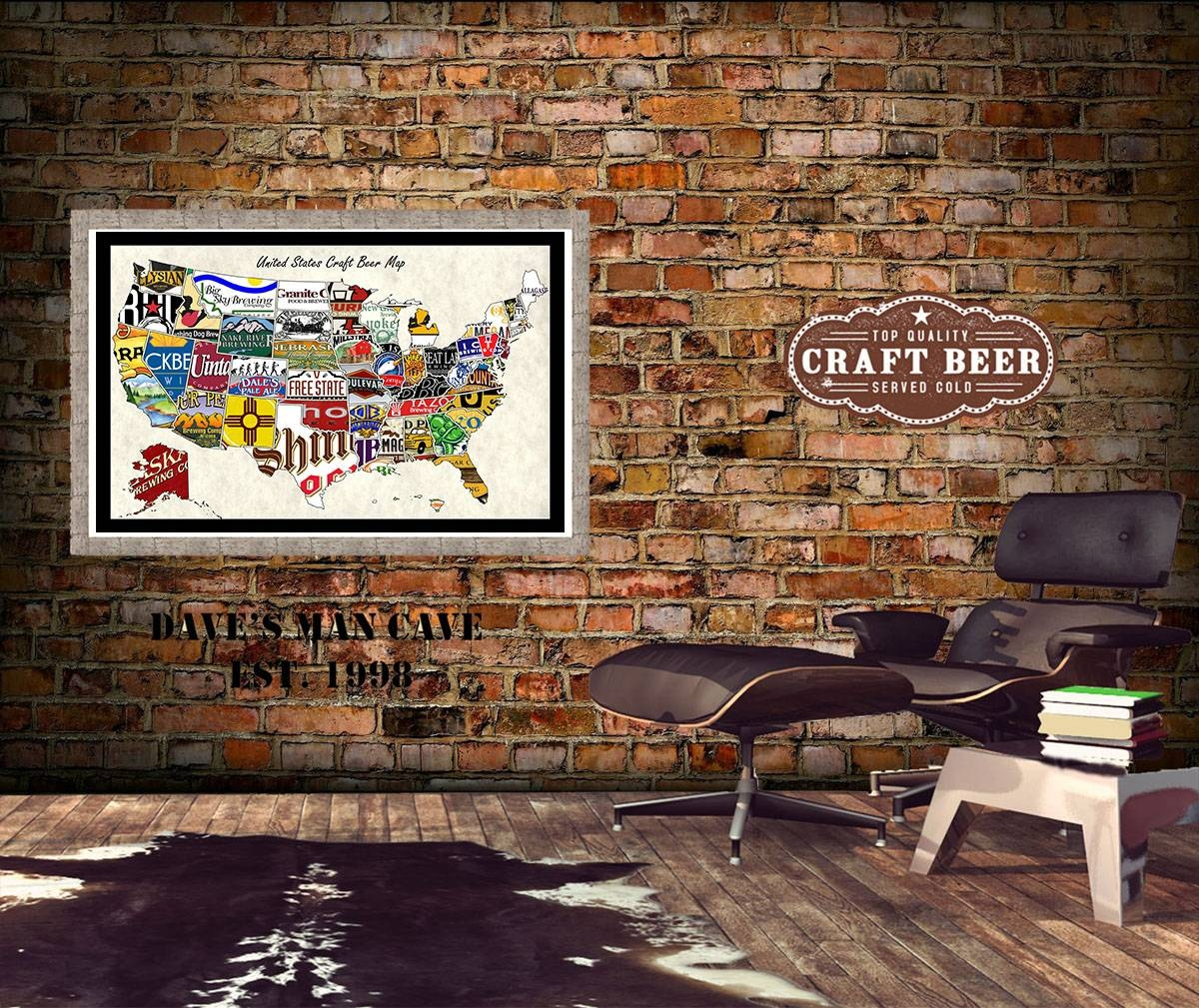 United States Craft Beer Wall Map Art Poster Of Breweries Regarding 2018 United States Map Wall Art (View 10 of 20)