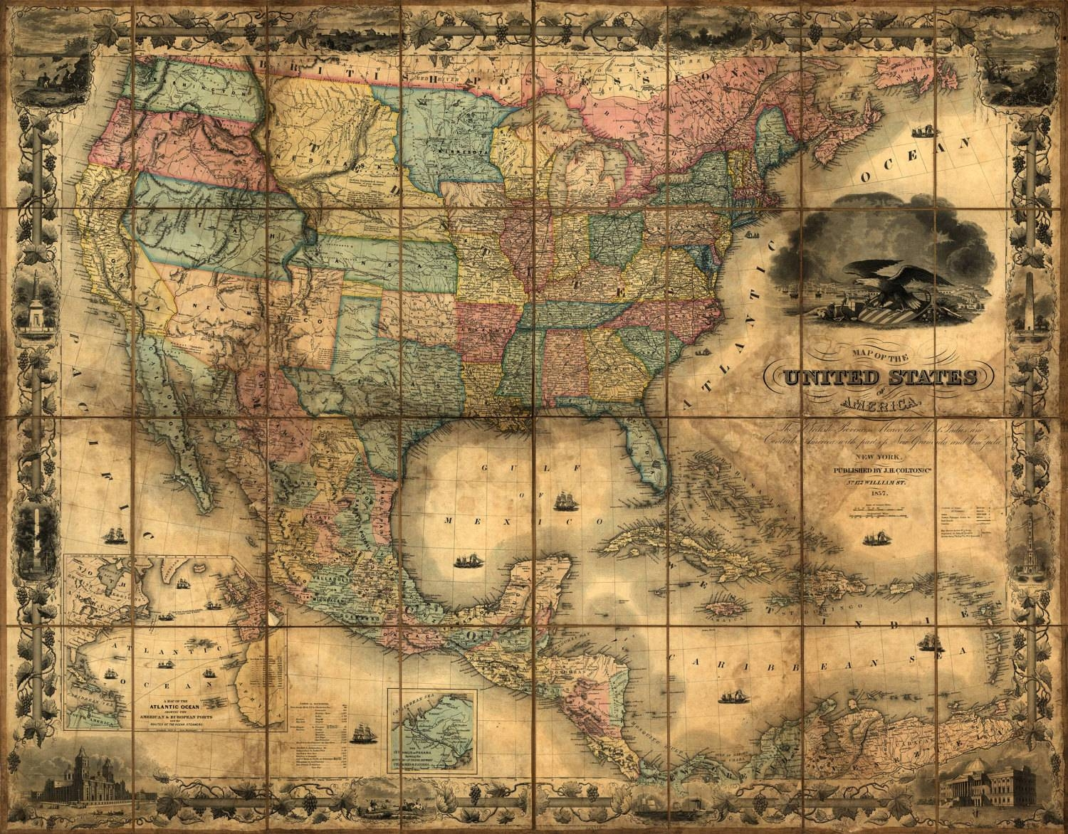 United States Map, Vintage Map, Canvas Large Map, Wall Art Map In Most Recently Released Antique Map Wall Art (Gallery 15 of 20)