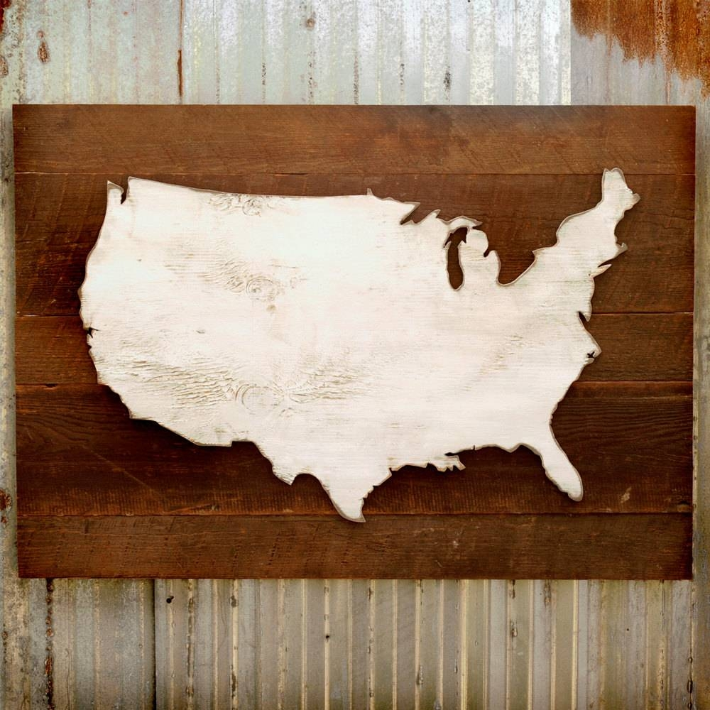 United States Map Wooden Reclaimed Rustic Decor Us Wall Map Pertaining To Best And Newest Us Map Wall Art (View 12 of 20)