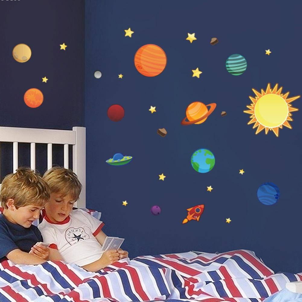 Universe Wall Stickers For Kids Room Nursery Pvc Posters Solar In Most Current Solar System Wall Art (Gallery 7 of 25)