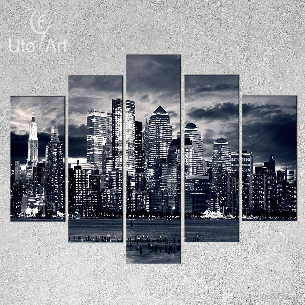 Unstretched Modern Home Decor New York City Painting Black White Regarding 2017 New York City Wall Art (View 13 of 20)