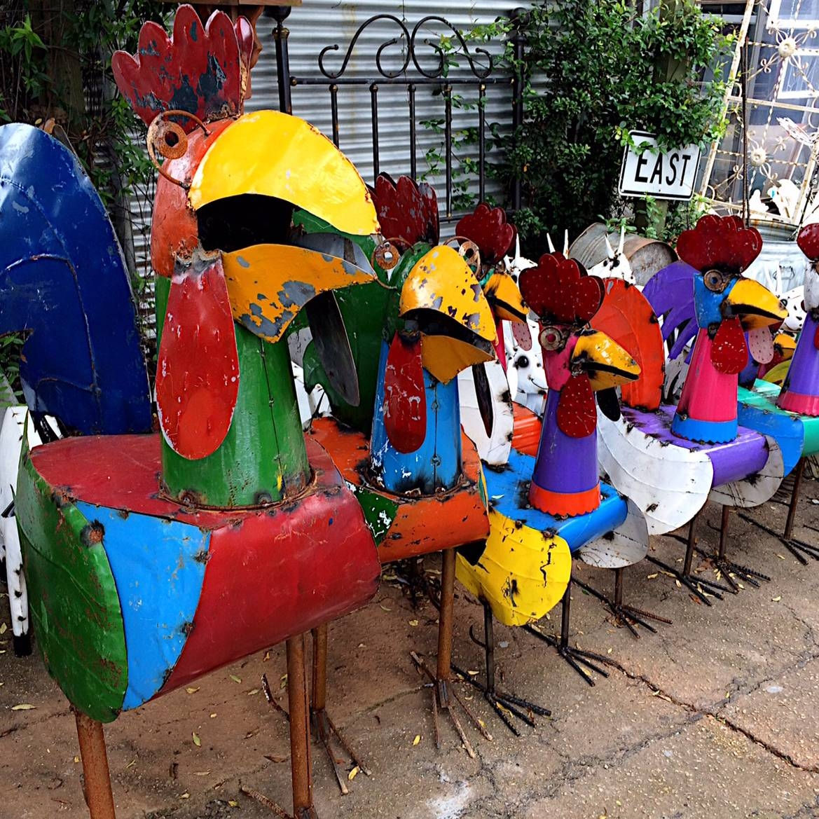 Upcycled Metal Rooster Yard Art – Kudzu Antiques Pertaining To 2017 Mexican Metal Yard Wall Art (View 28 of 30)