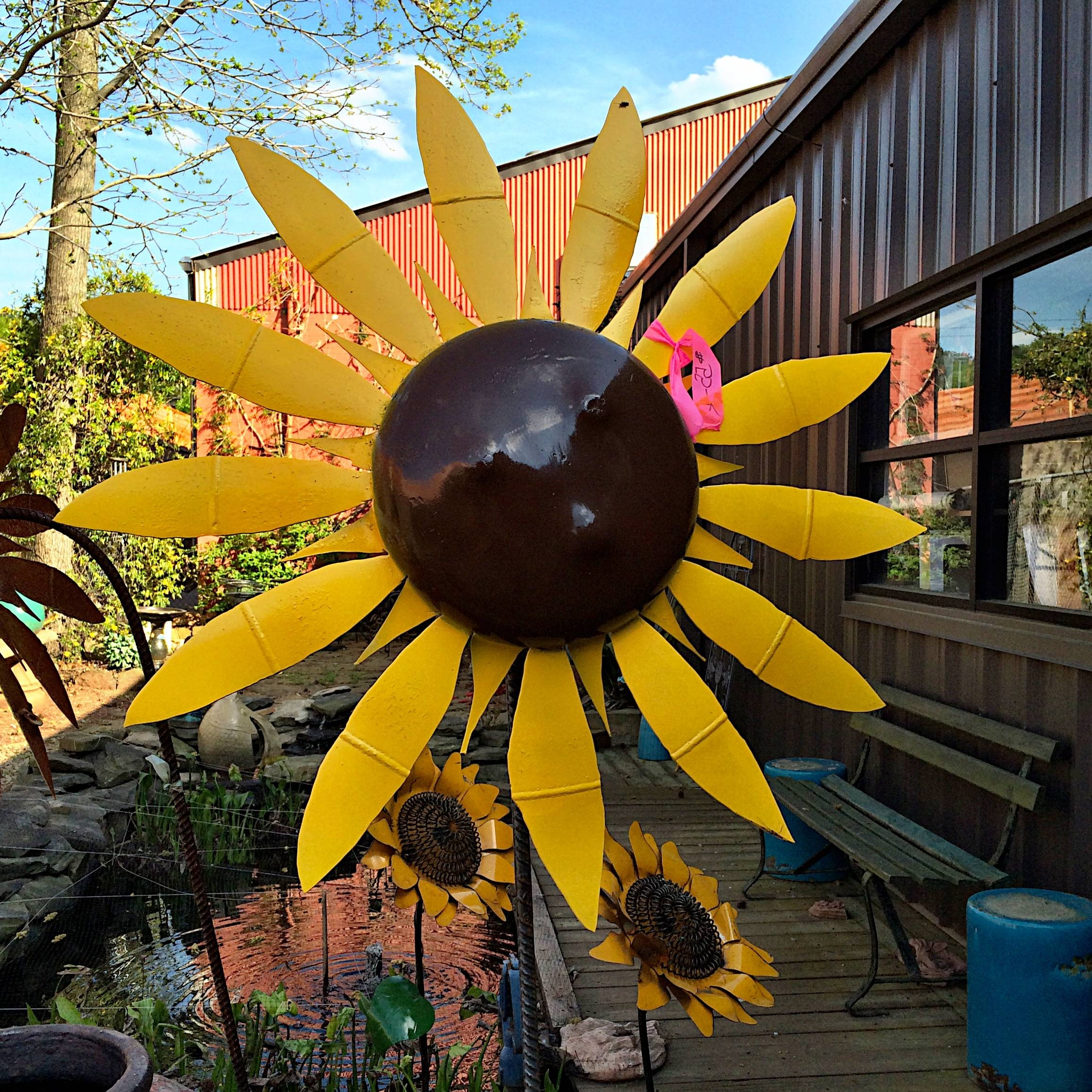 Upcycled Metal Sunflower Yard Art – Kudzu Antiques Pertaining To Best And Newest Metal Sunflower Yard Art (Gallery 2 of 26)