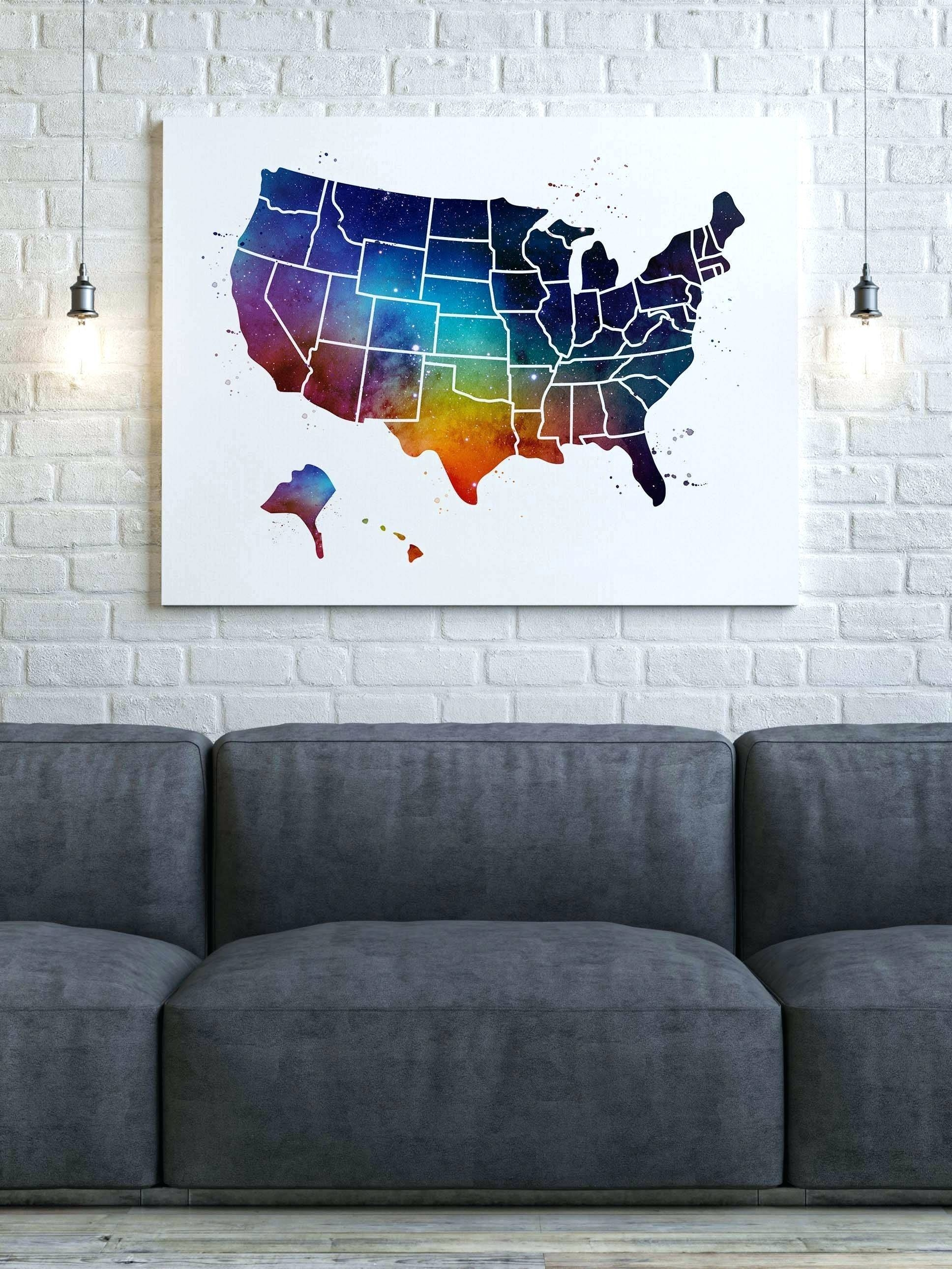Us Map Canvas Wall Art Wooden United States Map Wall Art United Inside Current Us Map Wall Art (View 14 of 20)