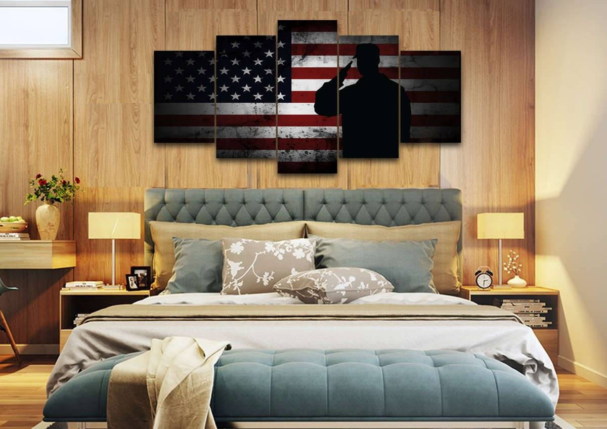 Us Marine Saluting The American Flag Military Wall Art Canvas For Recent Matching Canvas Wall Art (View 13 of 20)