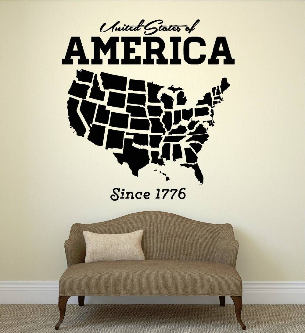 Usa Map Wall Sticker United States Of America Map Mural Pvc Wall Within Latest United States Map Wall Art (View 12 of 20)