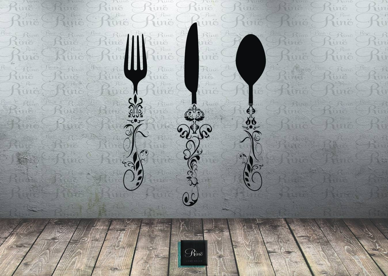Utensil Decals (5ft) Kitchen Wall Decal – Knife Spoon Fork Wall Pertaining To 2018 Large Utensil Wall Art (View 8 of 20)