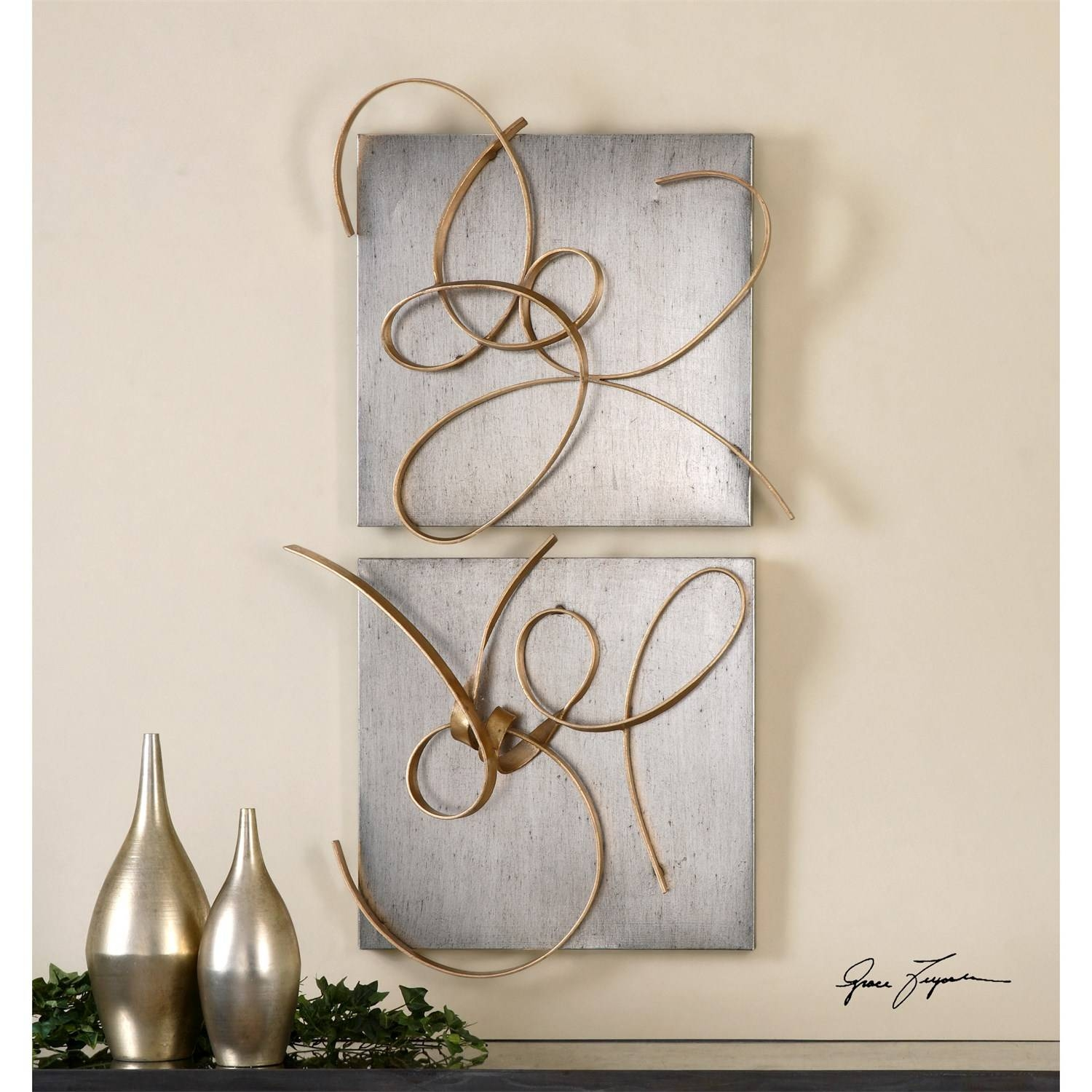 Uttermost 07071 Harmony Metal Wall Art – Set Of 2 – Homeclick Within Recent Uttermost Metal Wall Art (View 5 of 20)