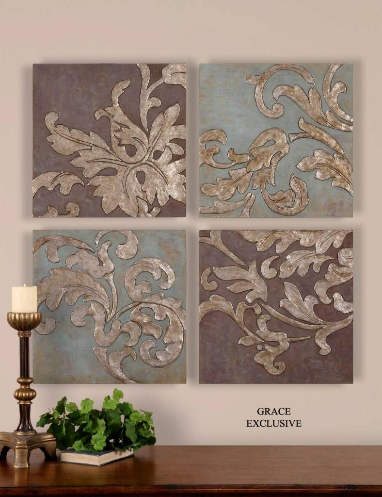 Uttermost Damask Relief Blocks Wall Art Set/4 35223 Pertaining To Recent Exclusive Wall Art (View 2 of 20)