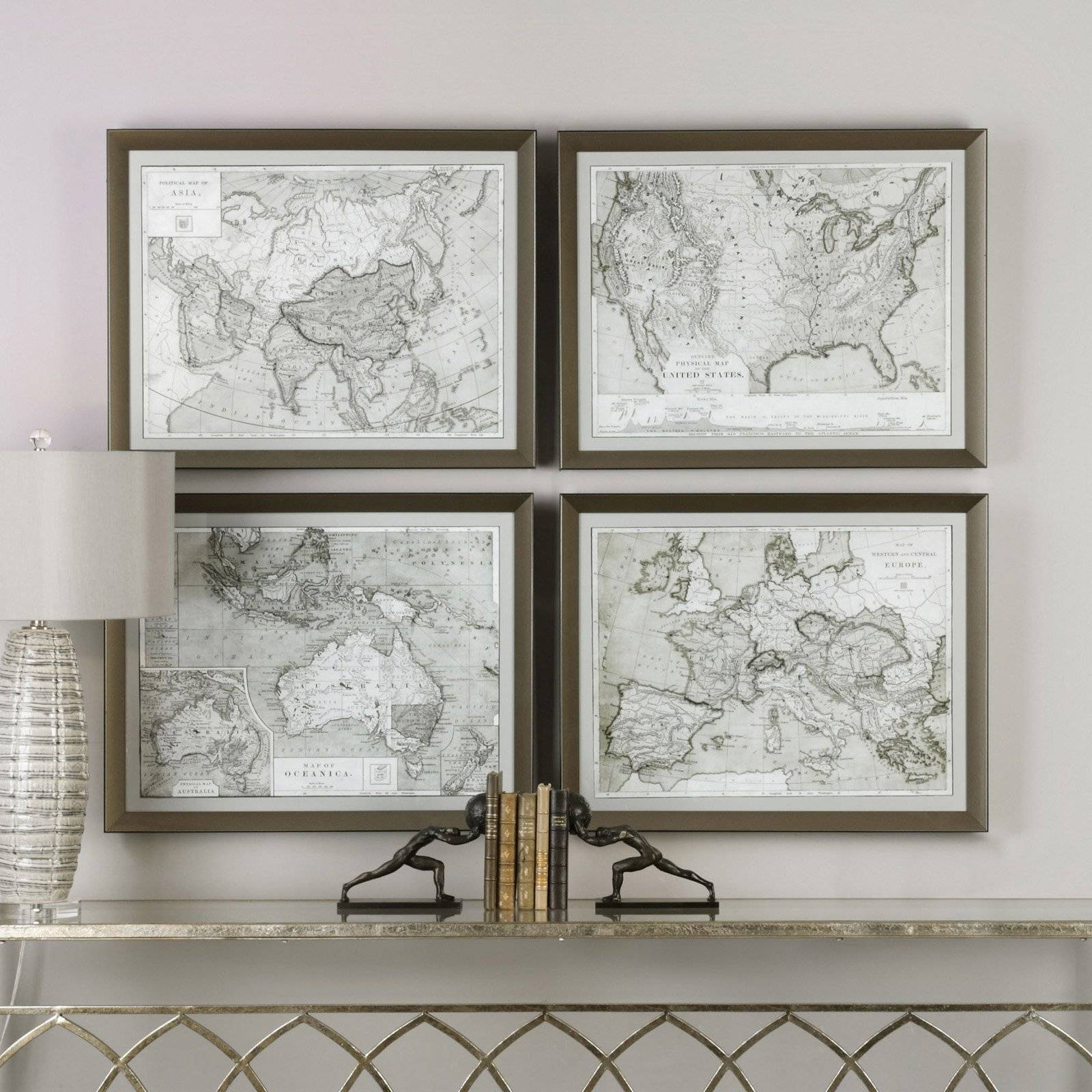 Uttermost World Maps Wall Art – Set Of 4 | Hayneedle With Recent Map Wall Art (View 16 of 25)