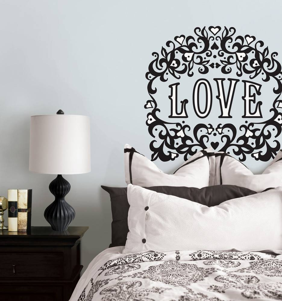 Valentine Days. Cool Home Wall Decals For Valentine Decors: Black In Newest Black And White Damask Wall Art (Gallery 9 of 30)