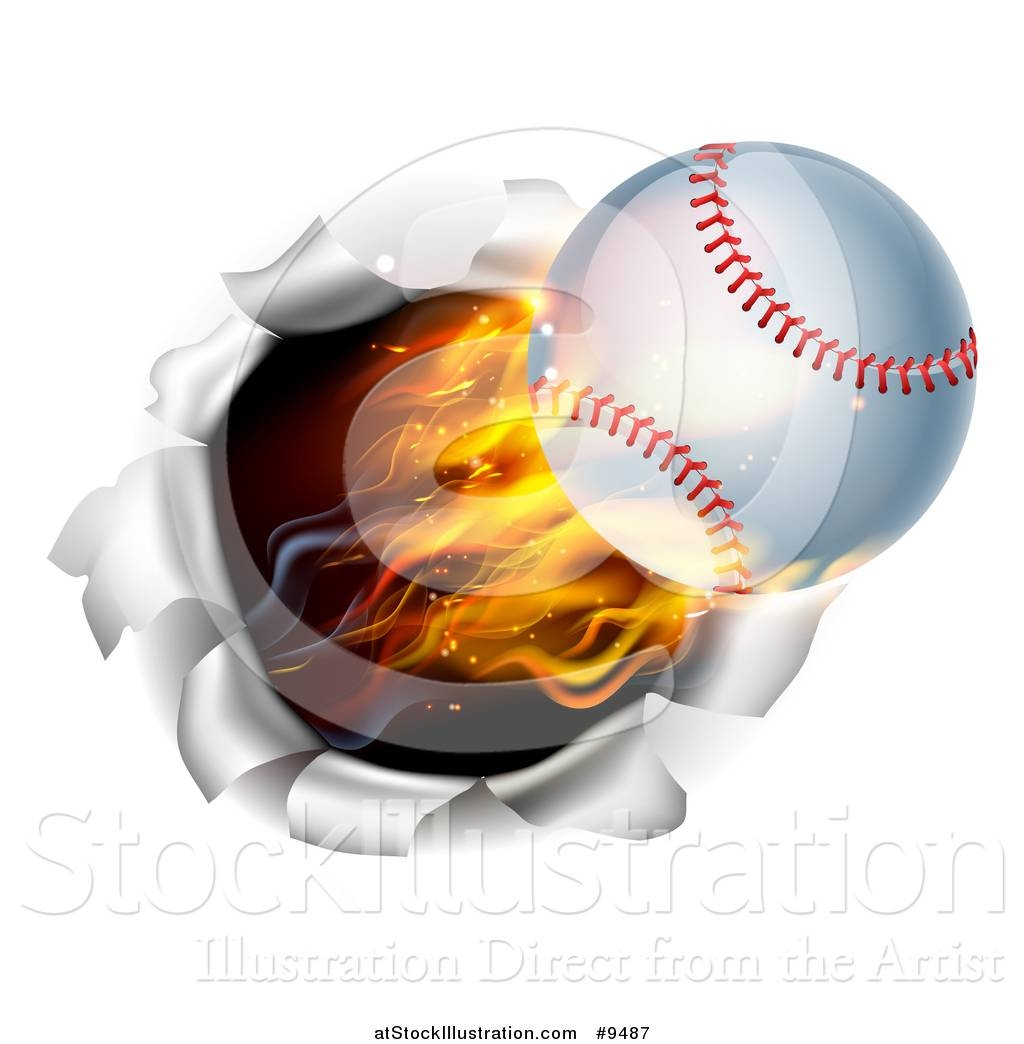 Vector Illustration Of A 3d Flying And Blazing Baseball With A With Newest Baseball 3d Wall Art (View 8 of 20)