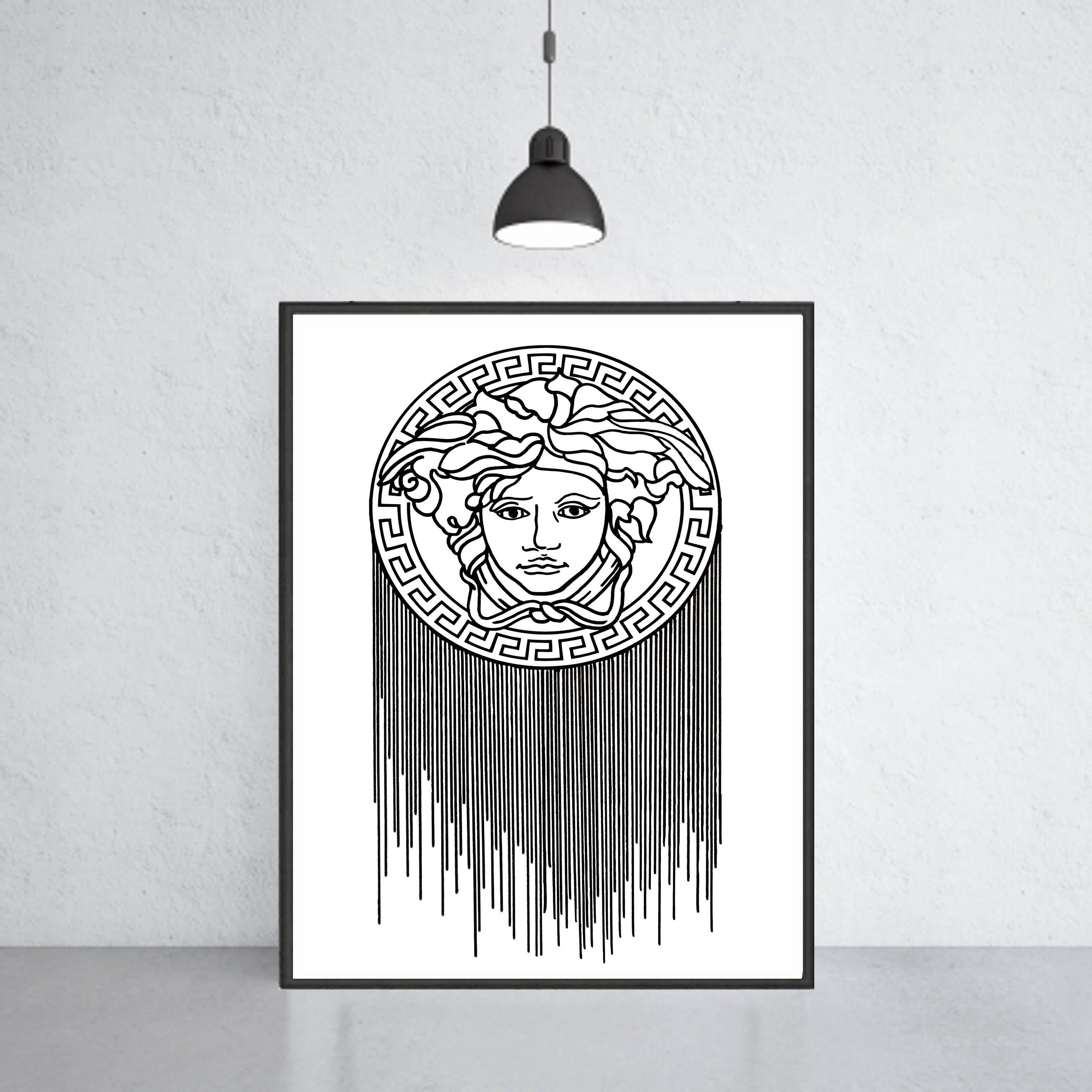 Versace Logo Art Print Versace Poster Versace Warecolor within Most Current Versace Wall Art