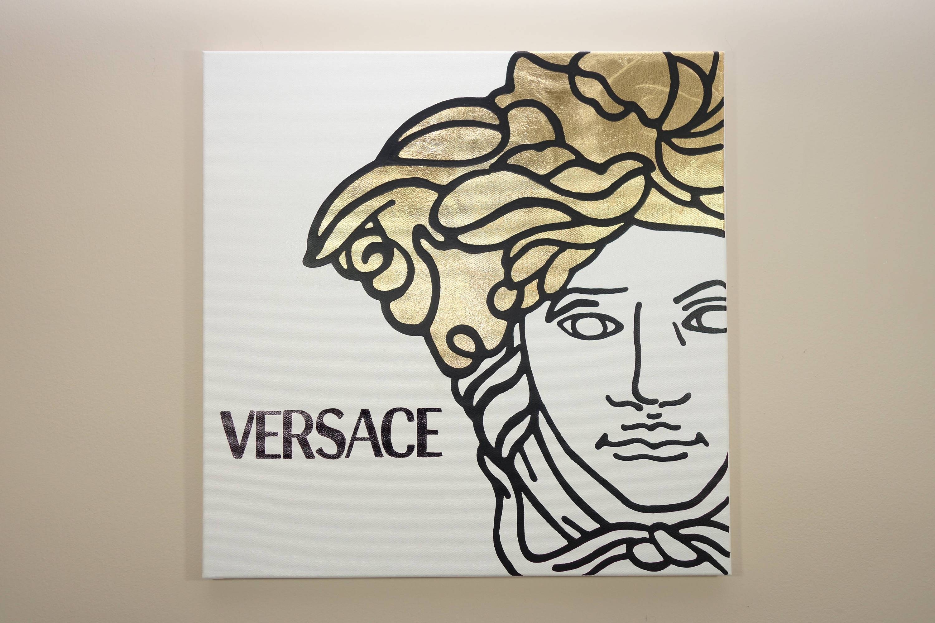 Versace Medusa Painting 20X20 Pop Art Black Gold Leaf regarding Most Recent Versace Wall Art